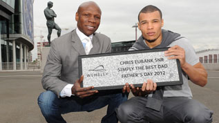 Chris Eubank receives a Wembley Way stone as a Father's Day present