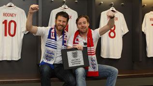 Simon and Ricky from the Kaiser Chiefs with their Wembley Way stone