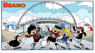 Dennis The Mennis and Beano friends at Wembley Stadium