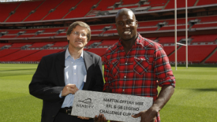 Rugby League legend Martin Offiah receives his Wembley Way stone