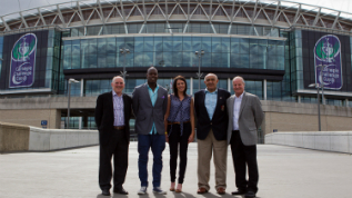 (L-R) Bev Risman, Martin Offiah, Victoria Smith, Billy Boston and Alex Murphy