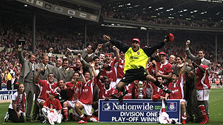 Charlton celebrate after winning an epic play-off final in 1998