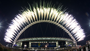 Fireworks over Wembley after the Champions League Final