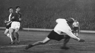 Sir Bobby Robson scores at Wembley against France