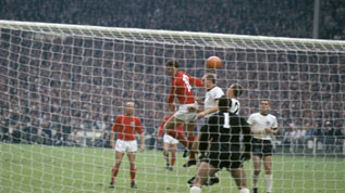 Hurst scores his first against West Germany