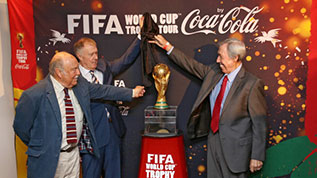 Greaves, Hurst and Banks unveil FIFA World Cup at Wembley