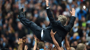 Pellegrini celebrates City winning the title