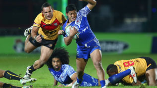 Paul Aiton in action for his country