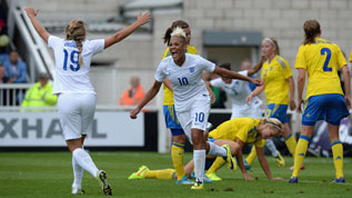 England Women celebrate a goal against Sweden