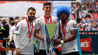 The three Peterborough goalscorers with the JPT