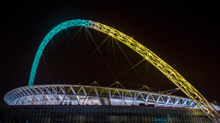 The Wembley arch lights up London